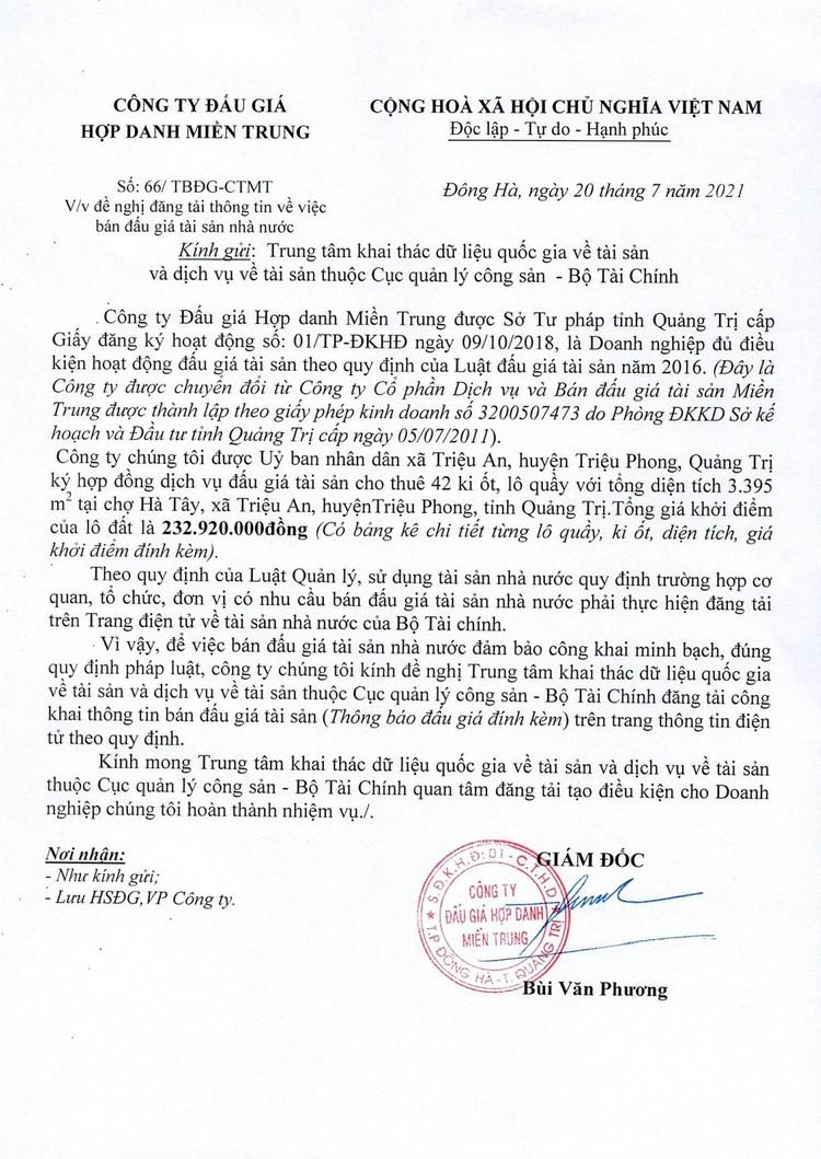 Ngày 14/8/2021, đấu giá cho thuê quyền sử dụng 42 ki ốt tại chợ Hà Tây, tỉnh Quảng Trị ảnh 2