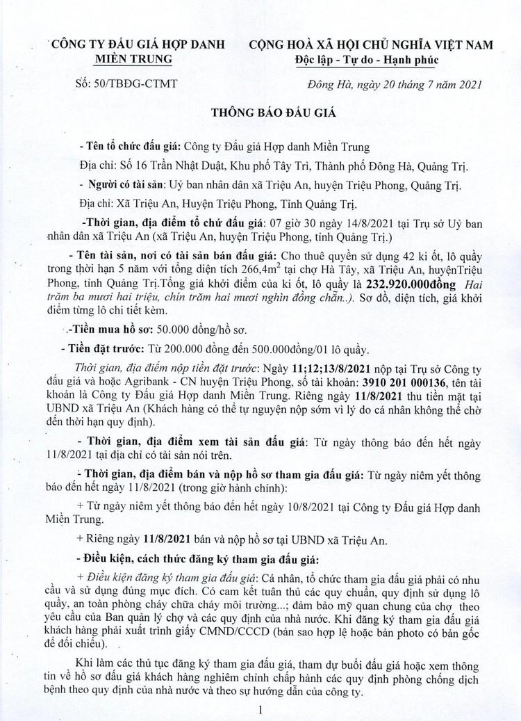 Ngày 14/8/2021, đấu giá cho thuê quyền sử dụng 42 ki ốt tại chợ Hà Tây, tỉnh Quảng Trị ảnh 3