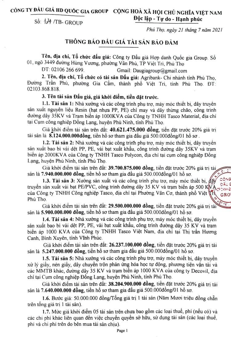 Ngày 26/8/2021, đấu giá nhà xưởng và máy móc thiết bị tại tỉnh Phú Thọ ảnh 2