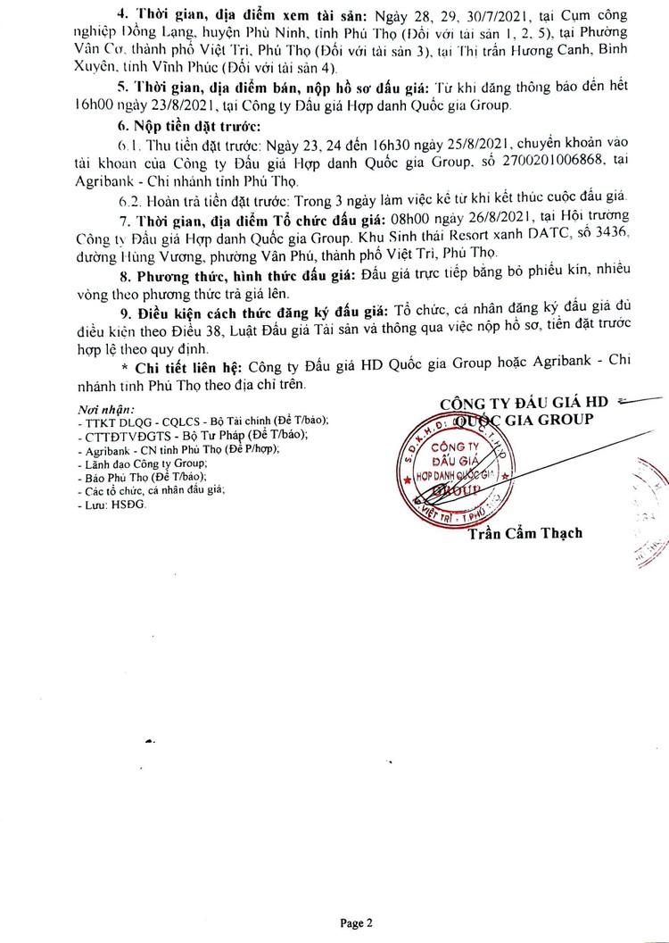 Ngày 26/8/2021, đấu giá nhà xưởng và máy móc thiết bị tại tỉnh Phú Thọ ảnh 3