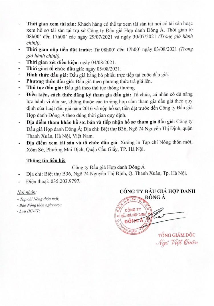 Ngày 5/8/2021, đấu giá quyền máy móc, thiết bị, nhà xưởng, dây chuyền máy in tại Hà Nội ảnh 3