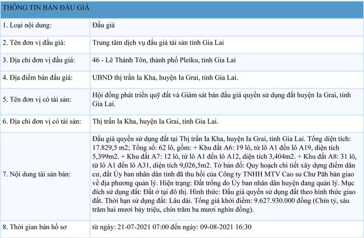 Ngày 12/8/2021, đấu giá quyền sử dụng 62 lô đất tại huyện Ia Grai, tỉnh Gia Lai ảnh 1