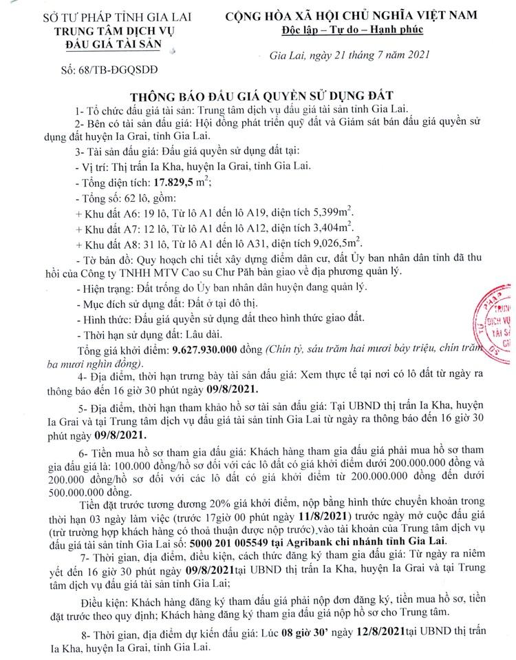 Ngày 12/8/2021, đấu giá quyền sử dụng 62 lô đất tại huyện Ia Grai, tỉnh Gia Lai ảnh 3