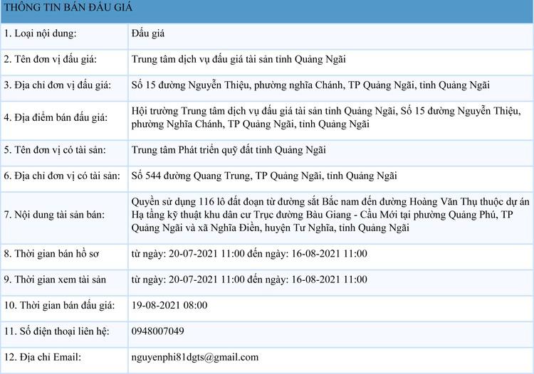 Ngày 19/8/2021, đấu giá quyền sử dụng 116 lô đất tại huyện Tư Nghĩa và TP.Quảng Ngãi, tỉnh Quảng Ngãi ảnh 1