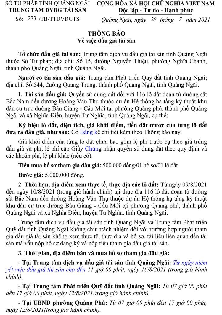 Ngày 19/8/2021, đấu giá quyền sử dụng 116 lô đất tại huyện Tư Nghĩa và TP.Quảng Ngãi, tỉnh Quảng Ngãi ảnh 2