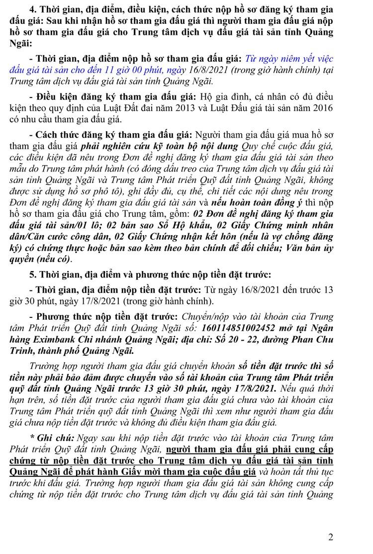 Ngày 19/8/2021, đấu giá quyền sử dụng 116 lô đất tại huyện Tư Nghĩa và TP.Quảng Ngãi, tỉnh Quảng Ngãi ảnh 3