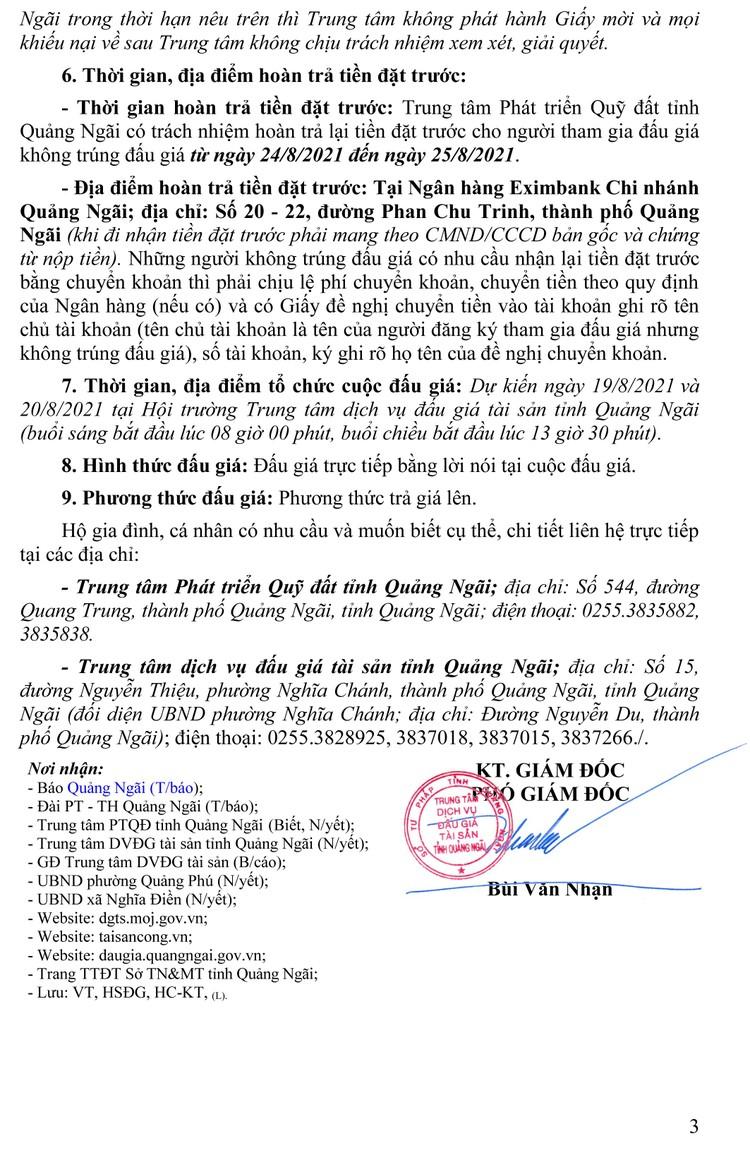 Ngày 19/8/2021, đấu giá quyền sử dụng 116 lô đất tại huyện Tư Nghĩa và TP.Quảng Ngãi, tỉnh Quảng Ngãi ảnh 4