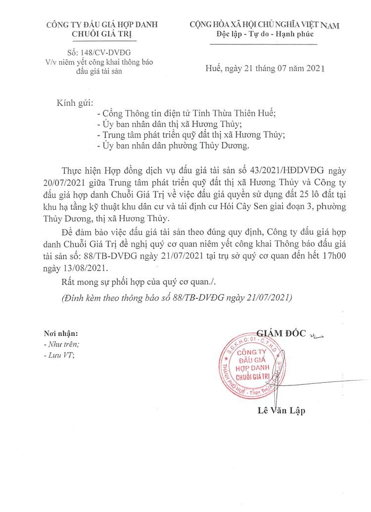 Ngày 14/8/2021, đấu giá quyền sử dụng 25 lô đất tại thị xã Hương Thủy, tỉnh Thừa Thiên Huế ảnh 2