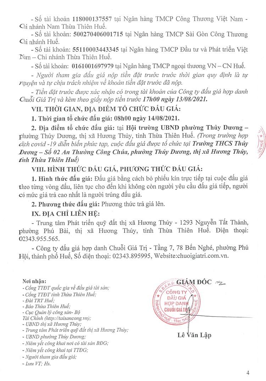 Ngày 14/8/2021, đấu giá quyền sử dụng 25 lô đất tại thị xã Hương Thủy, tỉnh Thừa Thiên Huế ảnh 6