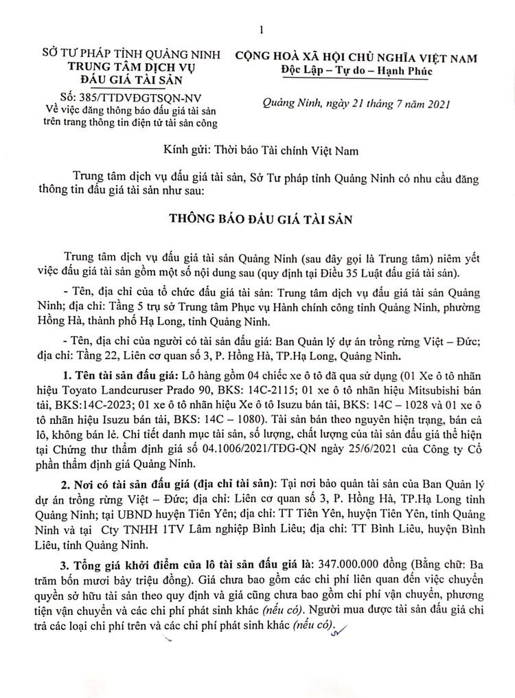 Ngày 9/8/2021, đấu giá 04 xe ô tô đã qua sử dụng tại tỉnh Quảng Ninh ảnh 3
