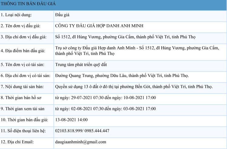 Ngày 13/8/2021, đấu giá quyền sử dụng đất tại thành phố Việt Trì, tỉnh Phú Thọ ảnh 1