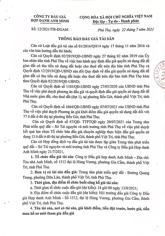 Ngày 13/8/2021, đấu giá quyền sử dụng đất tại thành phố Việt Trì, tỉnh Phú Thọ ảnh 2