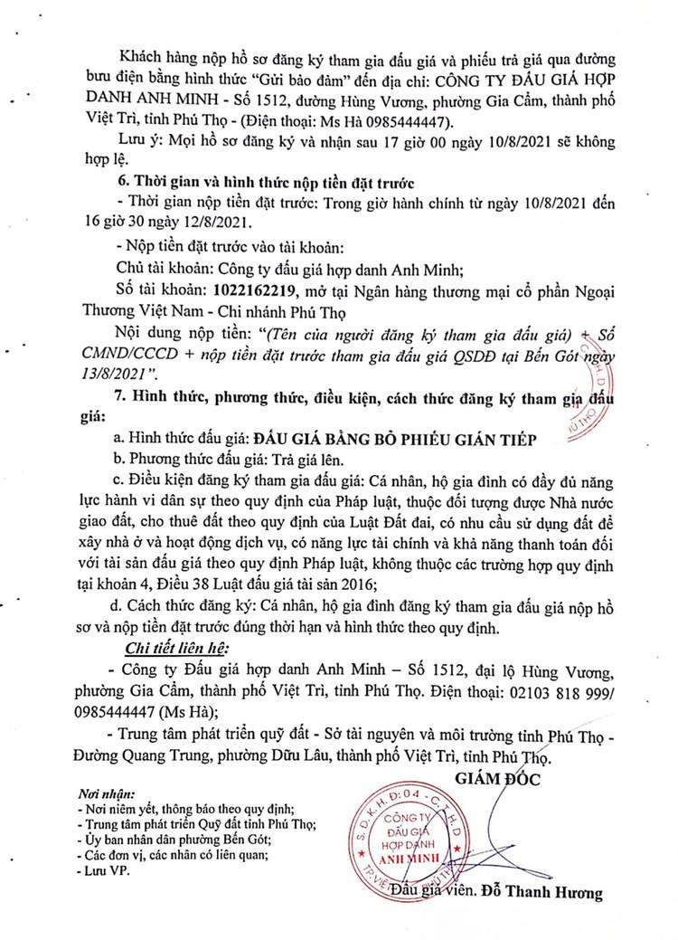 Ngày 13/8/2021, đấu giá quyền sử dụng đất tại thành phố Việt Trì, tỉnh Phú Thọ ảnh 4