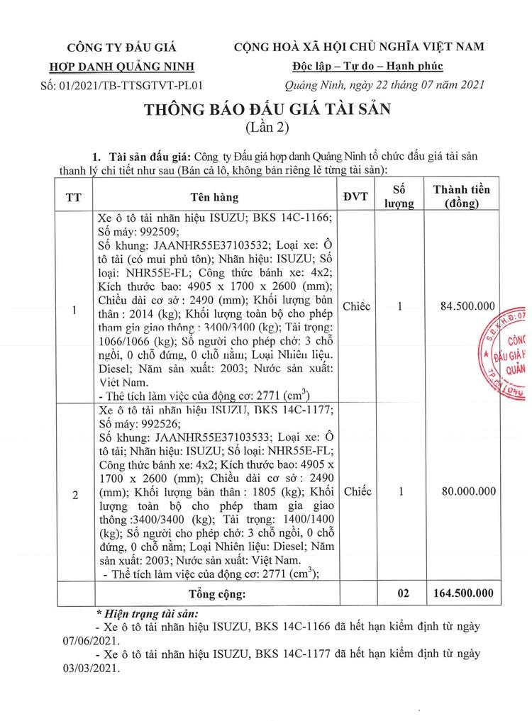 Ngày 9/8/2021, đấu giá 2 xe ô tải tại tỉnh Quảng Ninh ảnh 3