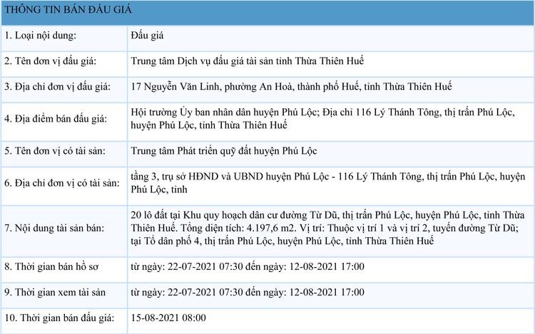 Ngày 15/8/2021, đấu giá quyền sử dụng đất tại huyện Phú Lộc, tỉnh Thừa Thiên Huế ảnh 1