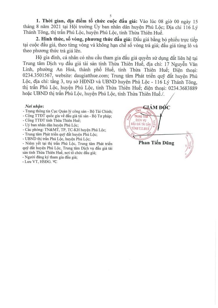 Ngày 15/8/2021, đấu giá quyền sử dụng đất tại huyện Phú Lộc, tỉnh Thừa Thiên Huế ảnh 7
