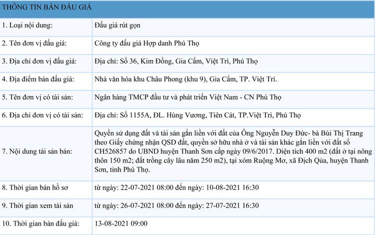 Ngày 13/8/2021, đấu giá quyền sử dụng đất tại huyện Thanh Sơn, tỉnh Phú Thọ ảnh 1