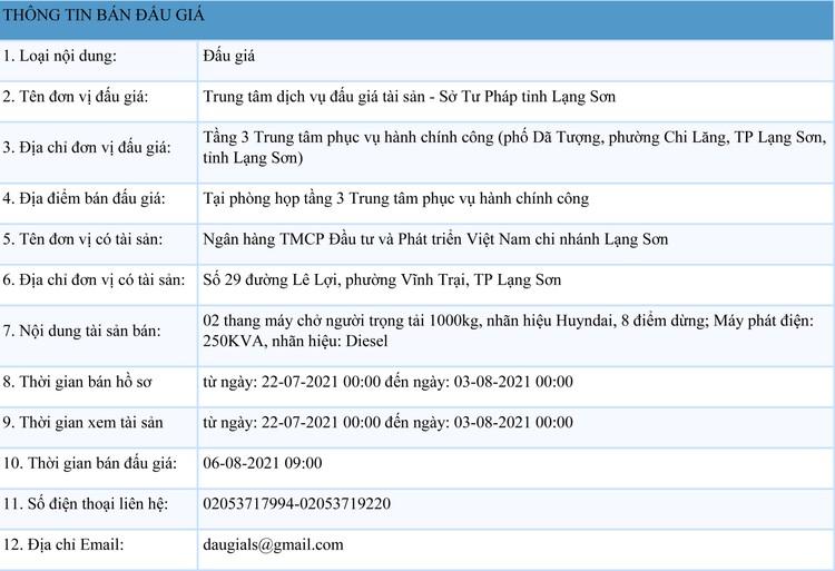 Ngày 6/8/2021, đấu giá 2 thang máy chở người tại tỉnh Lạng Sơn ảnh 1