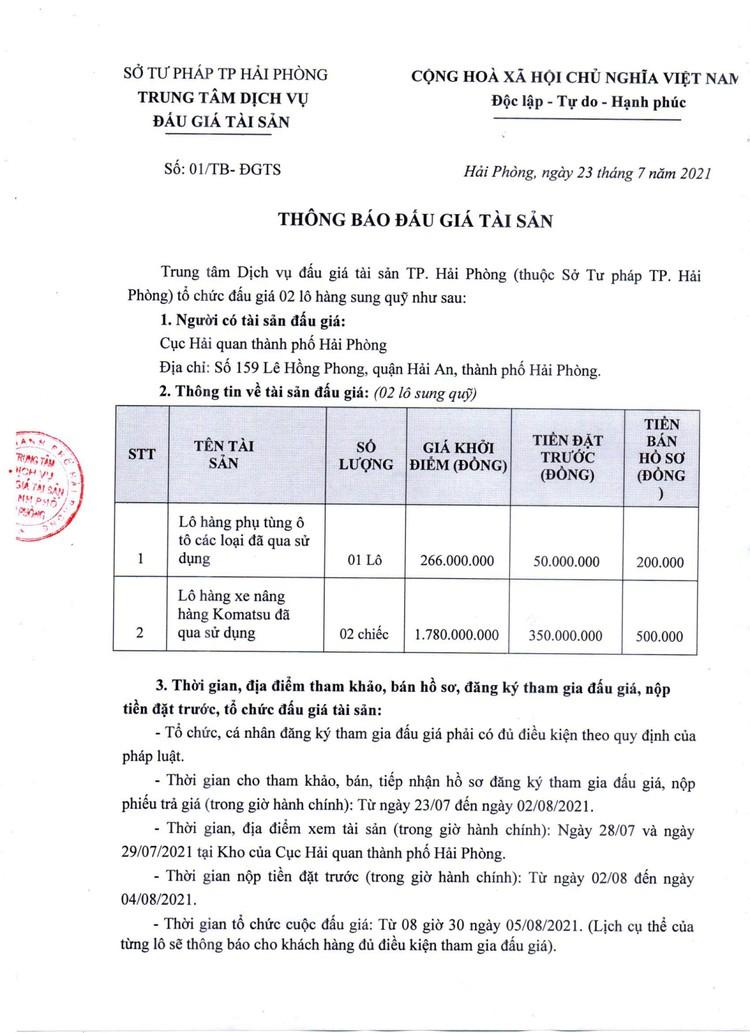 Ngày 5/8/2021, đấu giá 2 lô tài sản tịch thu tại TP. Hải Phòng ảnh 3
