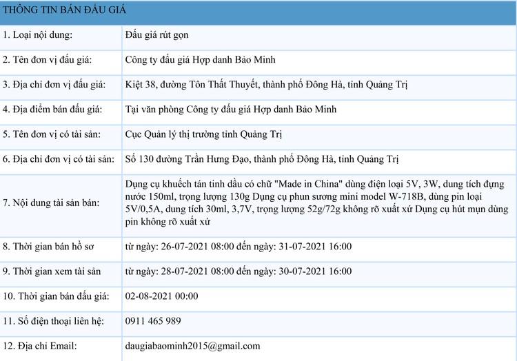 Ngày 2/8/2021, đấu giá dụng cụ khuếch tán tinh dầu tại tỉnh Quảng Trị ảnh 1