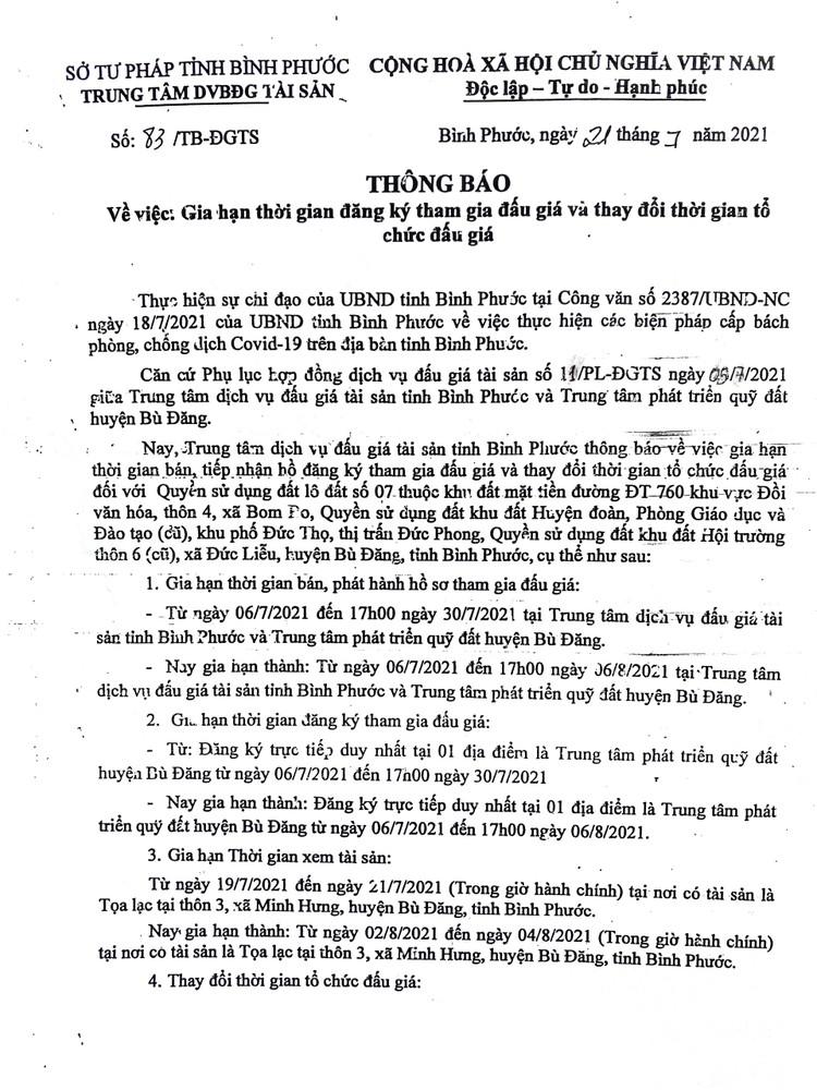 Ngày 9/8/2021, đấu giá quyền sử dụng 7 lô đất tại huyện Bù Đăng, tỉnh Bình Phước ảnh 5