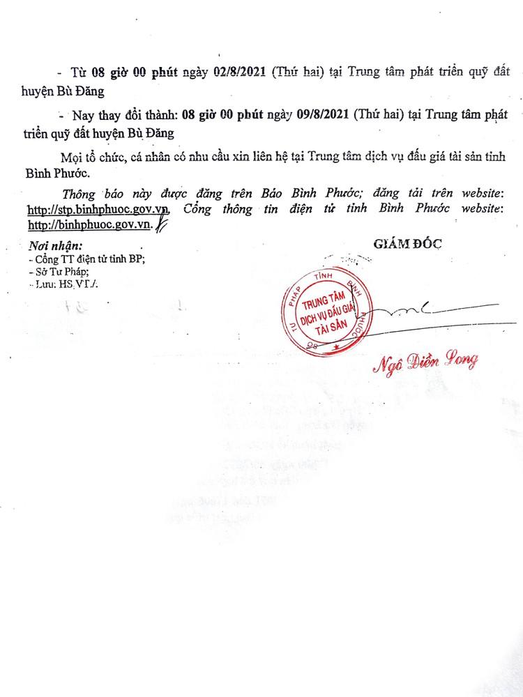 Ngày 9/8/2021, đấu giá quyền sử dụng 7 lô đất tại huyện Bù Đăng, tỉnh Bình Phước ảnh 6