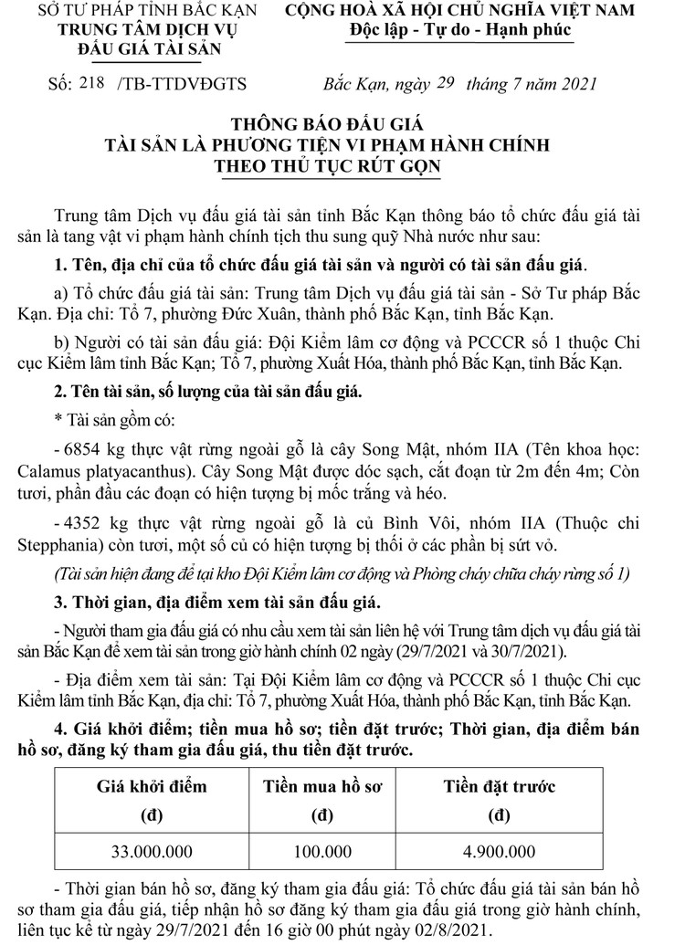 Ngày 4/8/2021, đấu giá 11.206 kg thực vật rừng ngoài gỗ tại tỉnh Bắc Kạn ảnh 2