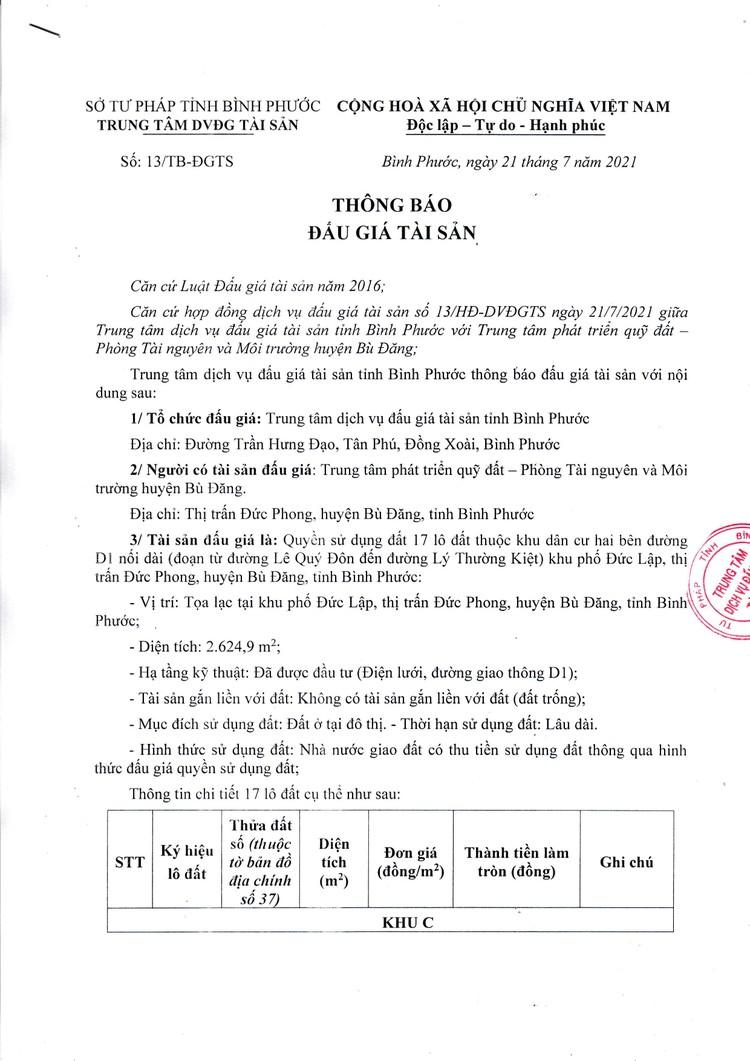 Ngày 13/8/2021, đấu giá quyền sử dụng 17 lô đất đất tại huyện Bù Đăng, tỉnh Bình Phước ảnh 2
