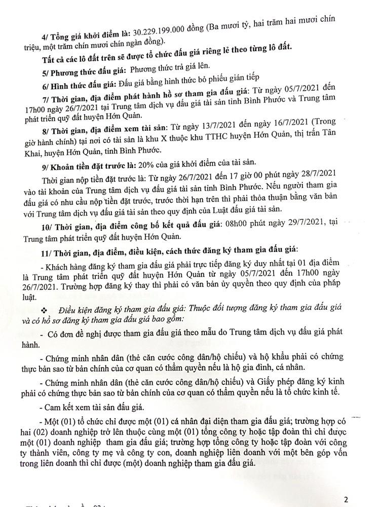 Ngày 23/8/2021, đấu giá quyền sử dụng 23 lô đất tại huyện Hớn Quản, tỉnh Bình Phước ảnh 5