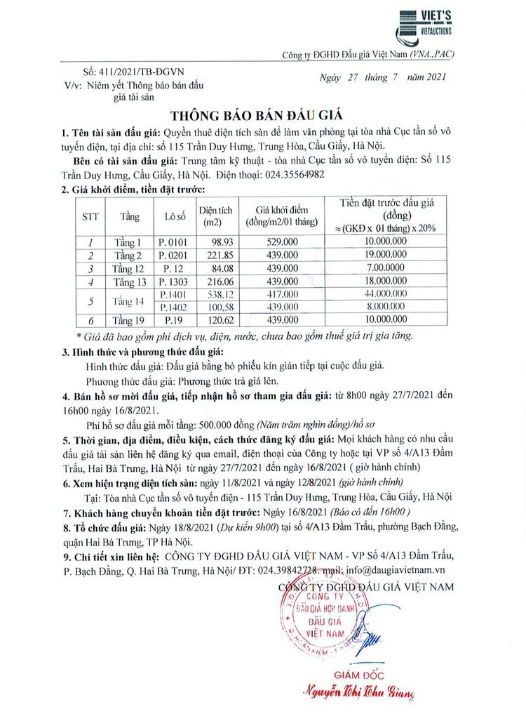 Ngày 18/8/2021, đấu giá thuê diện tích sàn để làm văn phòng tại tòa nhà Cục tần số vô tuyến điện, Hà Nội ảnh 2