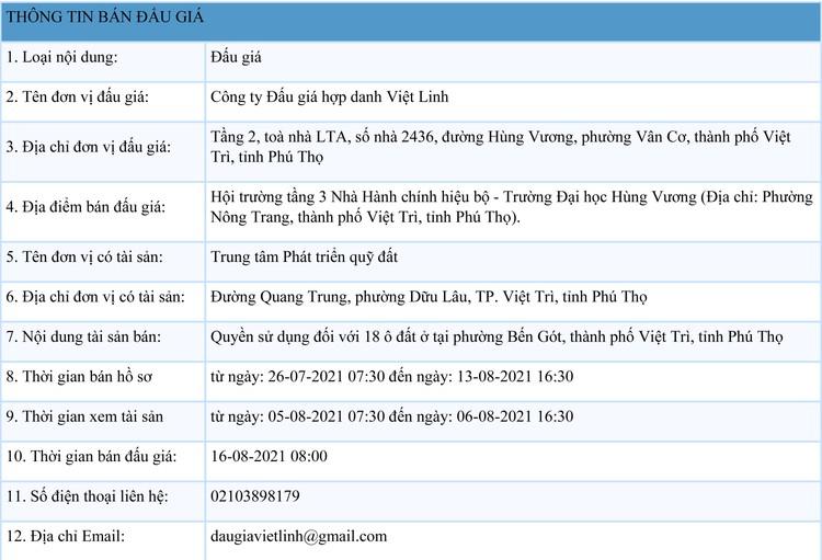 Ngày 16/8/2021, đấu giá quyền sử dụng 18 ô đất tại thành phố Việt Trì, tỉnh Phú Thọ ảnh 1
