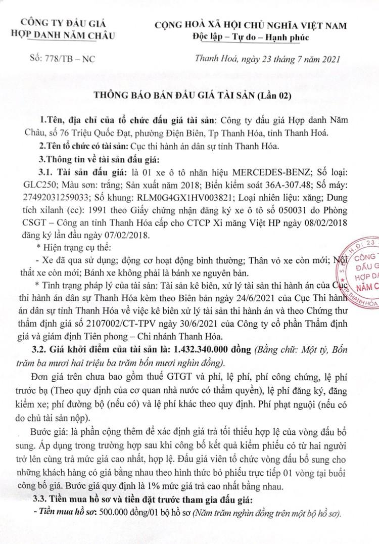 Ngày 10/8/2021, đấu giá xe ô tô MERCEDES-BENZ tại tỉnh Thanh Hóa ảnh 2