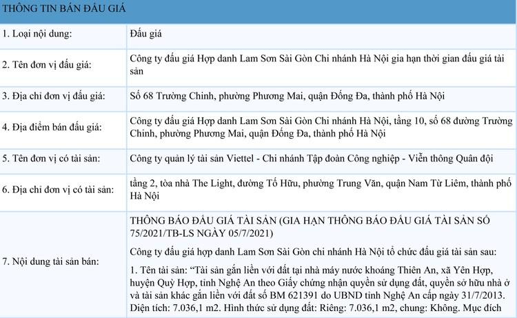 Ngày 12/8/2021, đấu giá nhà máy nước khoáng Thiên An tại huyện Quỳ Hợp, tỉnh Nghệ An ảnh 1