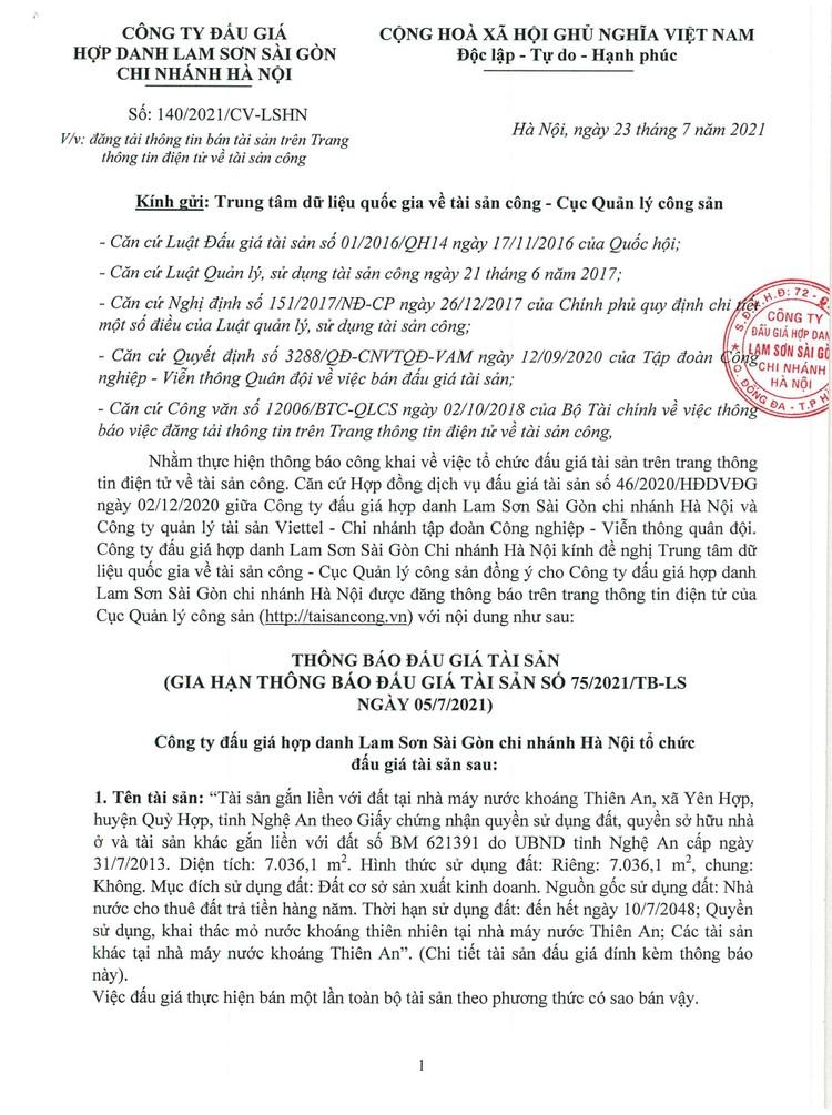 Ngày 12/8/2021, đấu giá nhà máy nước khoáng Thiên An tại huyện Quỳ Hợp, tỉnh Nghệ An ảnh 7