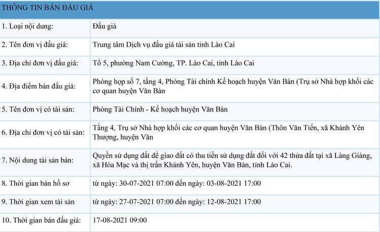 Ngày 17/8/2021, đấu giá quyền sử dụng 42 thửa đất tại huyện Văn Bàn, tỉnh Lào Cai ảnh 1