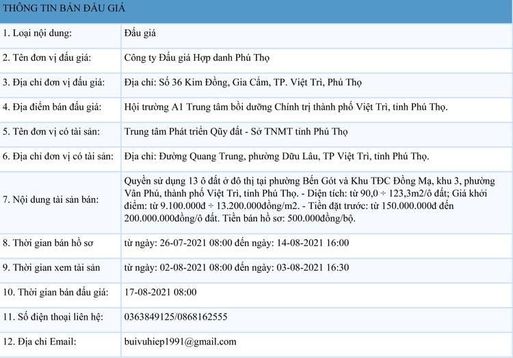 Ngày 17/8/2021, đấu giá quyền sử dụng 13 ô đất tại thành phố Việt Trì, tỉnh Phú Thọ ảnh 1