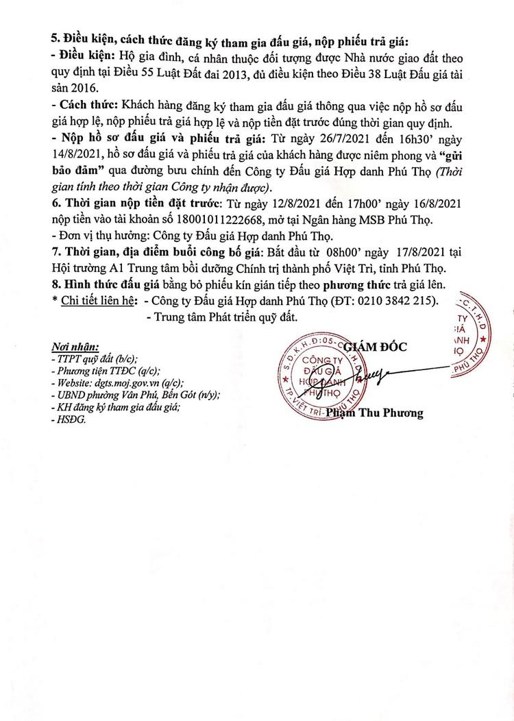 Ngày 17/8/2021, đấu giá quyền sử dụng 13 ô đất tại thành phố Việt Trì, tỉnh Phú Thọ ảnh 3