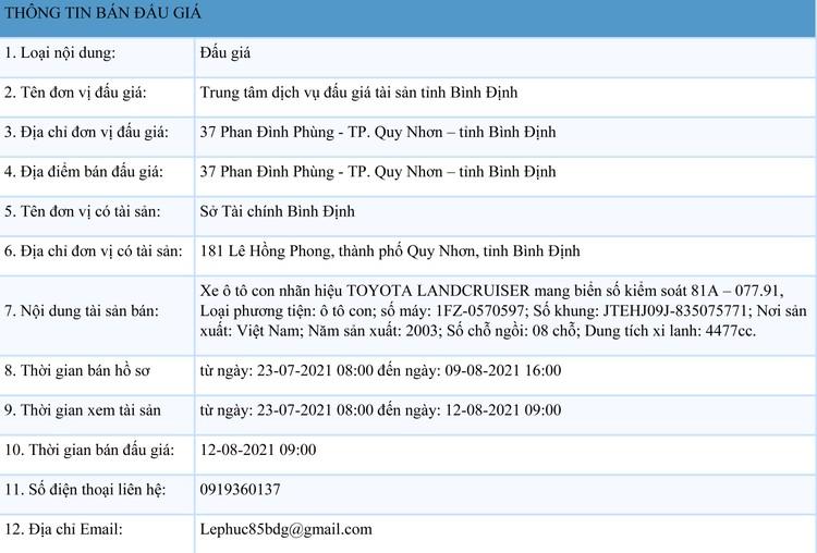 Ngày 12/8/2021, đấu giá xe ô tô TOYOTA LANDCRUISER tại tỉnh Bình Định ảnh 1