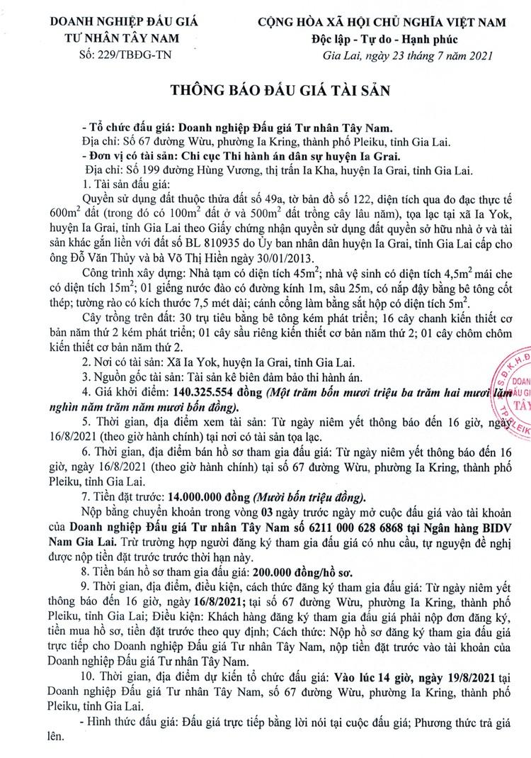 Ngày 19/8/2021, đấu giá quyền sử dụng đất tại huyện Ia Grai, tỉnh Gia Lai ảnh 2