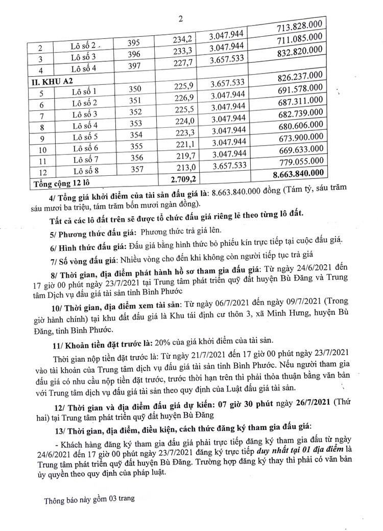 Ngày 23/8/2021, đấu giá quyền sử dụng 12 lô đất tại huyện Bù Đăng, tỉnh Bình Phước ảnh 3