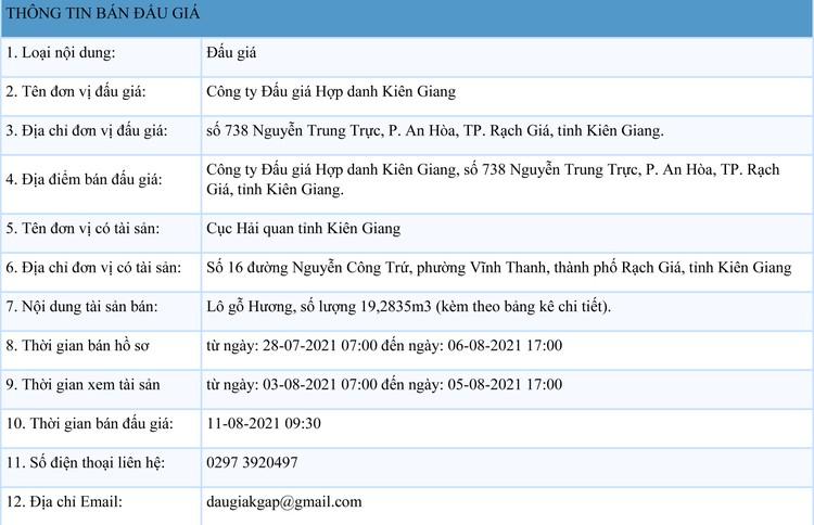 Ngày 11/8/2021, đấu giá 19,2835 m3 gỗ hương tại tỉnh Kiên Giang ảnh 1