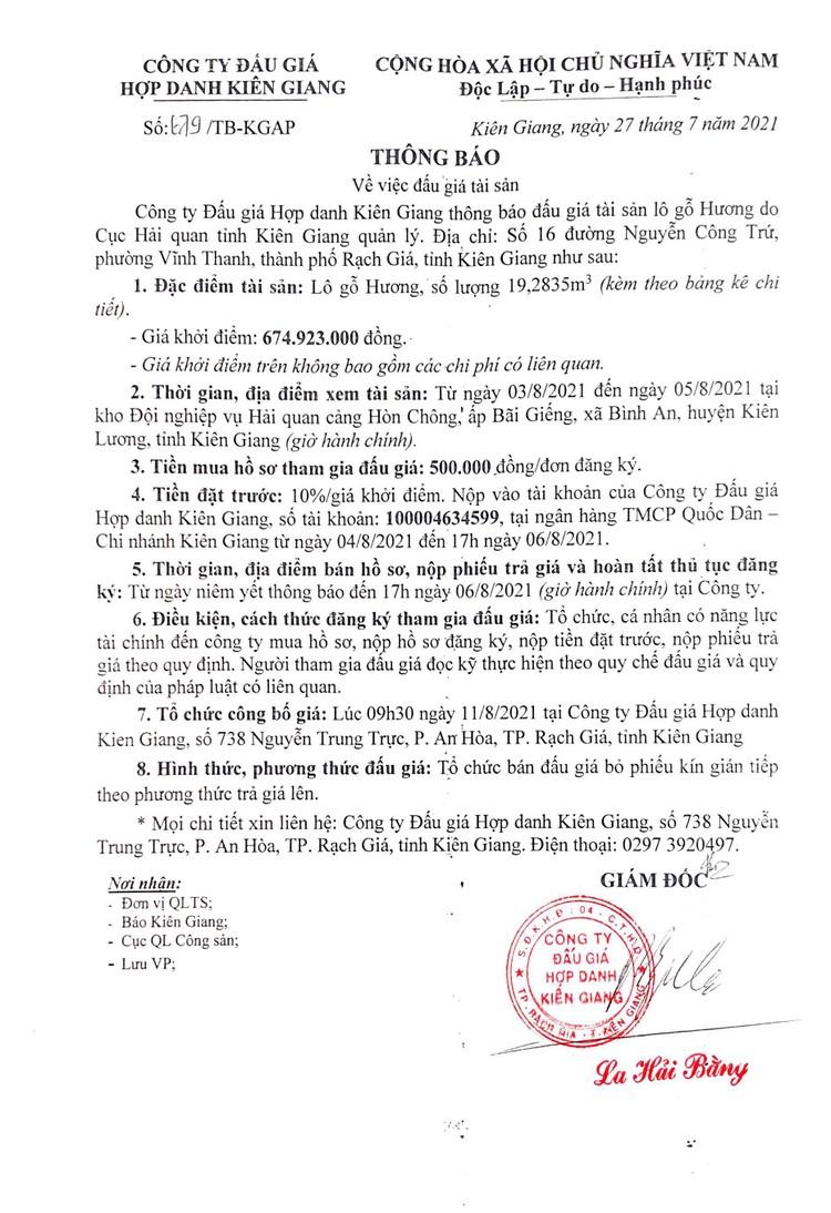 Ngày 11/8/2021, đấu giá 19,2835 m3 gỗ hương tại tỉnh Kiên Giang ảnh 2