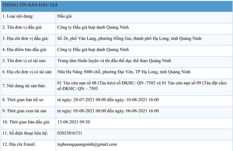 Ngày 13/8/2021, đấu giá 02 tàu cứu nạn tại tỉnh Quảng Ninh ảnh 1