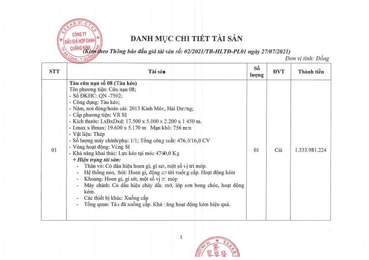 Ngày 13/8/2021, đấu giá 02 tàu cứu nạn tại tỉnh Quảng Ninh ảnh 4