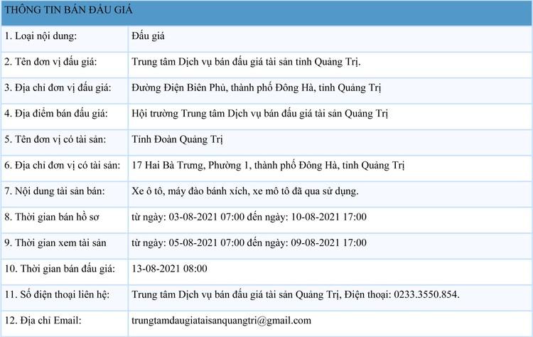Ngày 13/8/2021, đấu giá xe ô tô, máy đào bánh xích, xe mô tô đã qua sử dụng tại tỉnh Quảng Trị ảnh 1