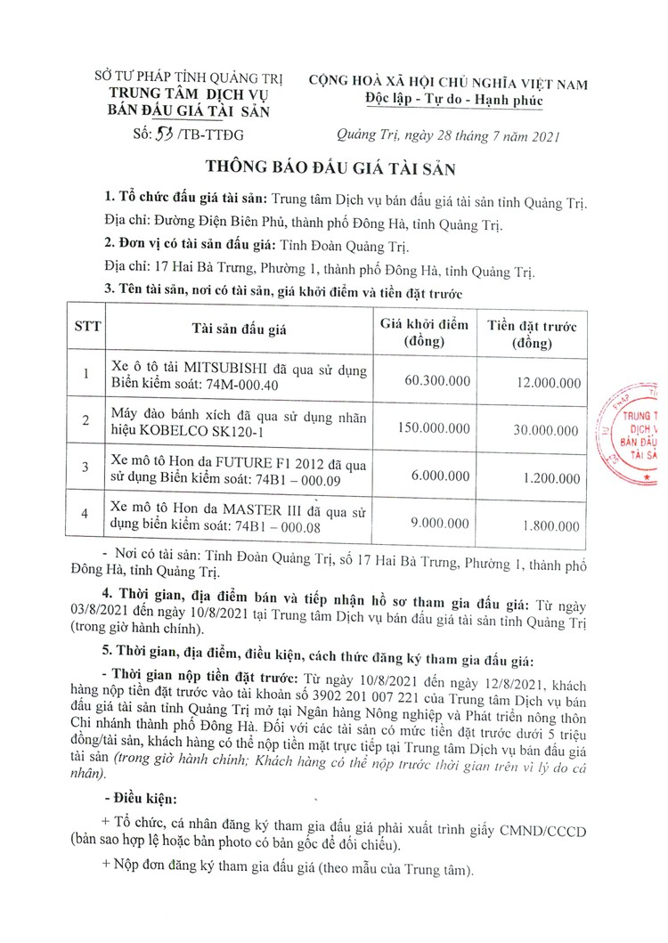 Ngày 13/8/2021, đấu giá xe ô tô, máy đào bánh xích, xe mô tô đã qua sử dụng tại tỉnh Quảng Trị ảnh 2