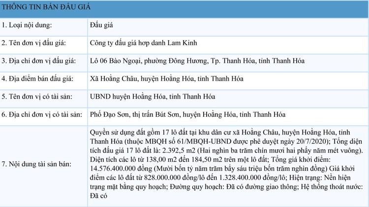 Ngày 23/8/2021, đấu giá quyền sử dụng 17 lô đất tại huyện Hoằng Hóa, Thanh Hóa ảnh 1