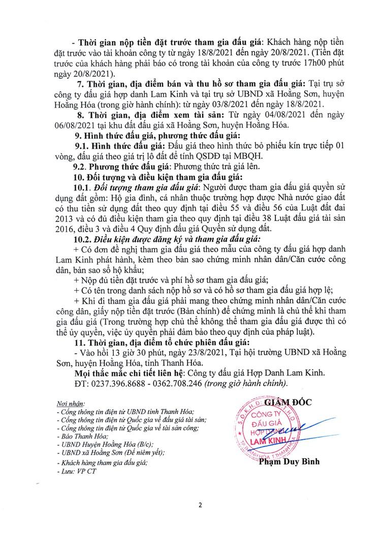 Ngày 23/8/2021, đấu giá quyền sử dụng 22 lô đất tại huyện Hoằng Hóa, tỉnh Thanh Hóa ảnh 3