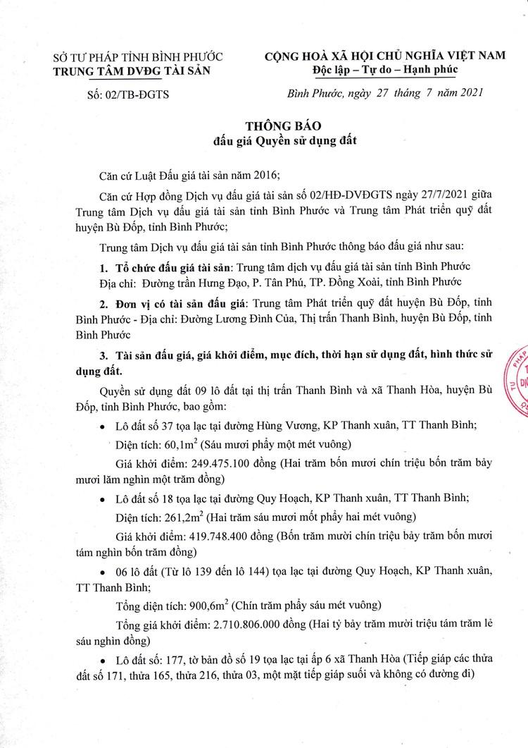 Ngày 23/8/2021, đấu giá quyền sử dụng đất tại huyện Bù Đốp, tỉnh Bình Phước ảnh 2