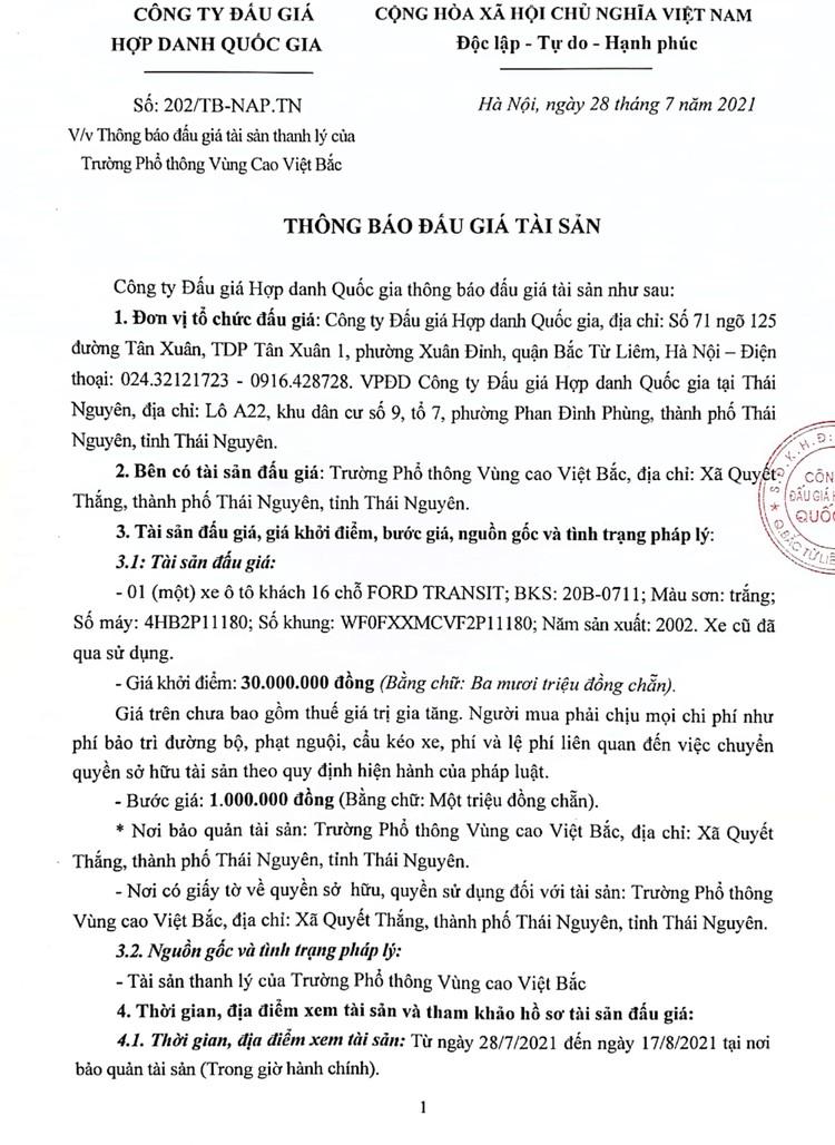 Ngày 20/8/2021, đấu giá 01 xe ô tô FORD TRANSIT tại tỉnh Thái Nguyên ảnh 2